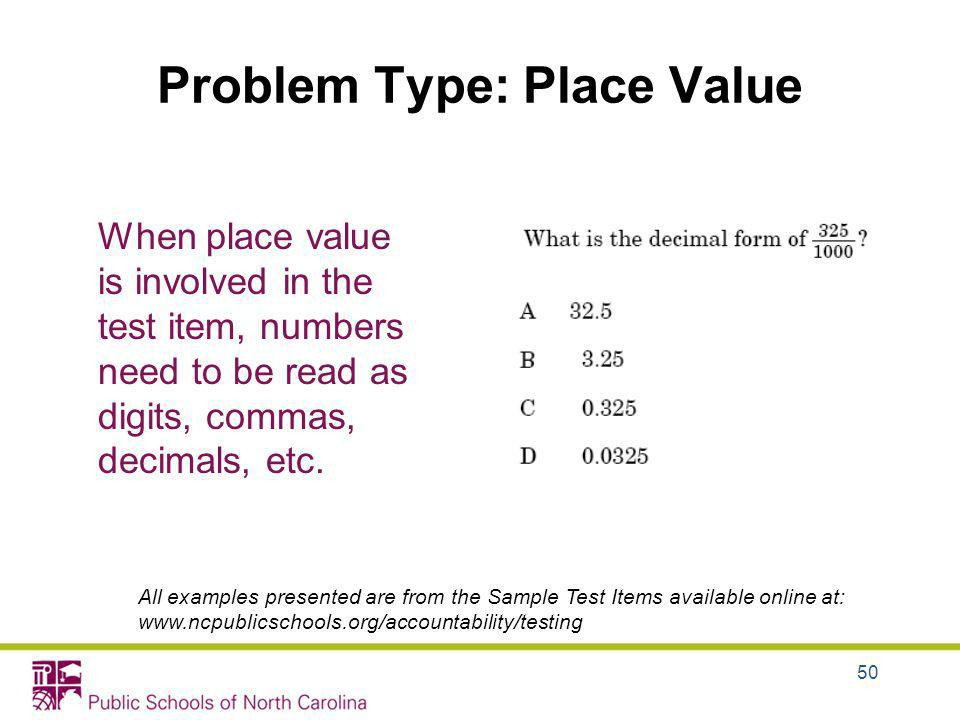 Problem Type: Place Value When place value is involved in the test item, numbers need to be read as digits, commas, decimals, etc. All examples presen