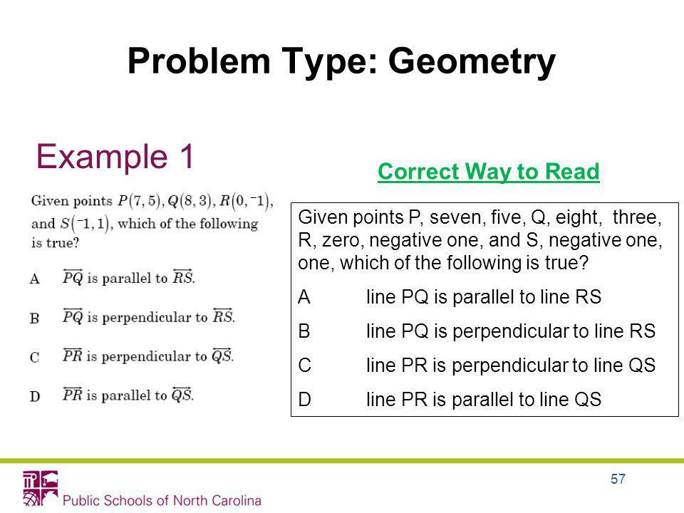 Problem Type: Geometry Example 1 Correct Way to Read Given points P, seven, five, Q, eight, three, R, zero, negative one, and S, negative one, one, wh
