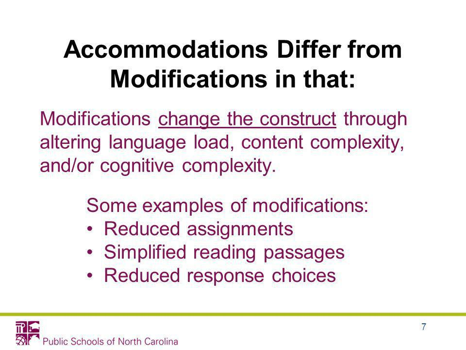 Accommodations Differ from Modifications in that: Modifications change the construct through altering language load, content complexity, and/or cognit