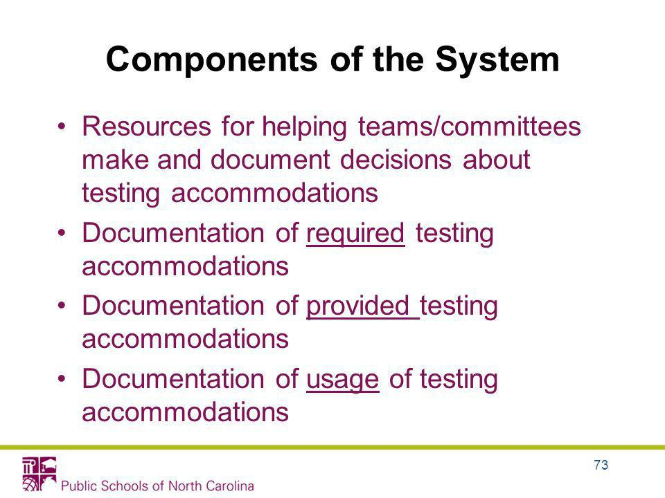 Components of the System Resources for helping teams/committees make and document decisions about testing accommodations Documentation of required tes