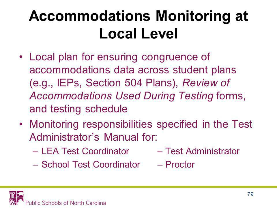Accommodations Monitoring at Local Level Local plan for ensuring congruence of accommodations data across student plans (e.g., IEPs, Section 504 Plans