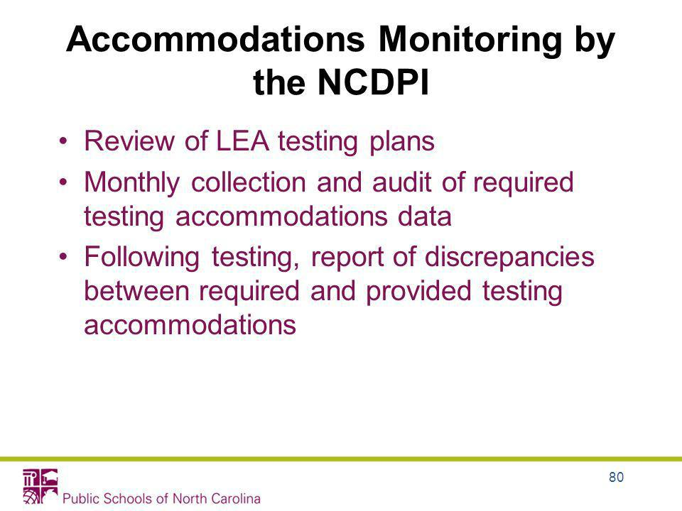 Accommodations Monitoring by the NCDPI Review of LEA testing plans Monthly collection and audit of required testing accommodations data Following test