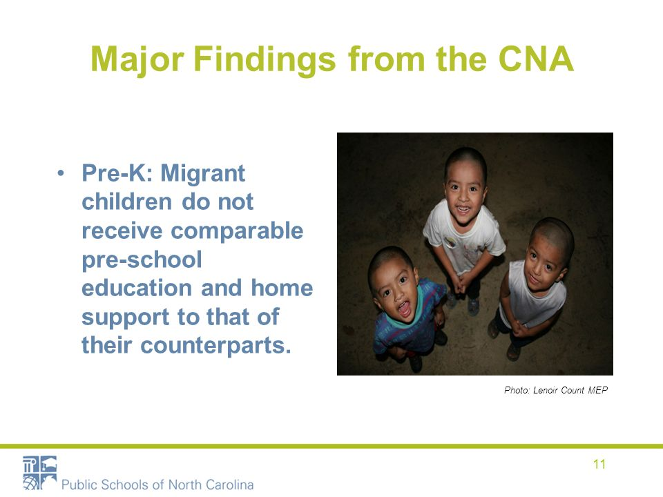 11 Major Findings from the CNA Pre-K: Migrant children do not receive comparable pre-school education and home support to that of their counterparts.