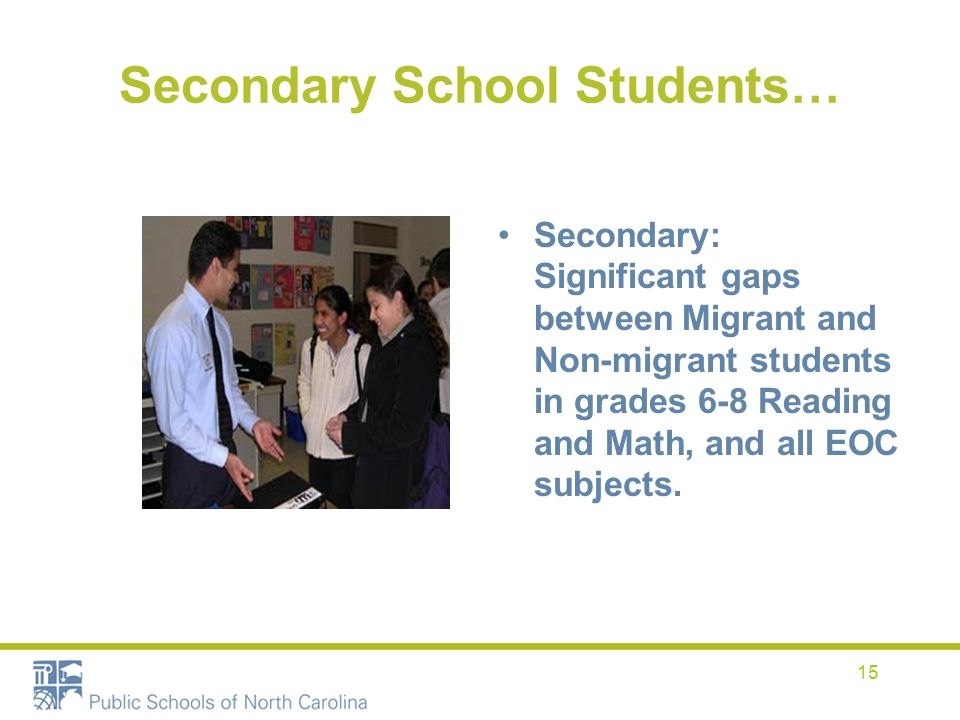 15 Secondary School Students… Secondary: Significant gaps between Migrant and Non-migrant students in grades 6-8 Reading and Math, and all EOC subject