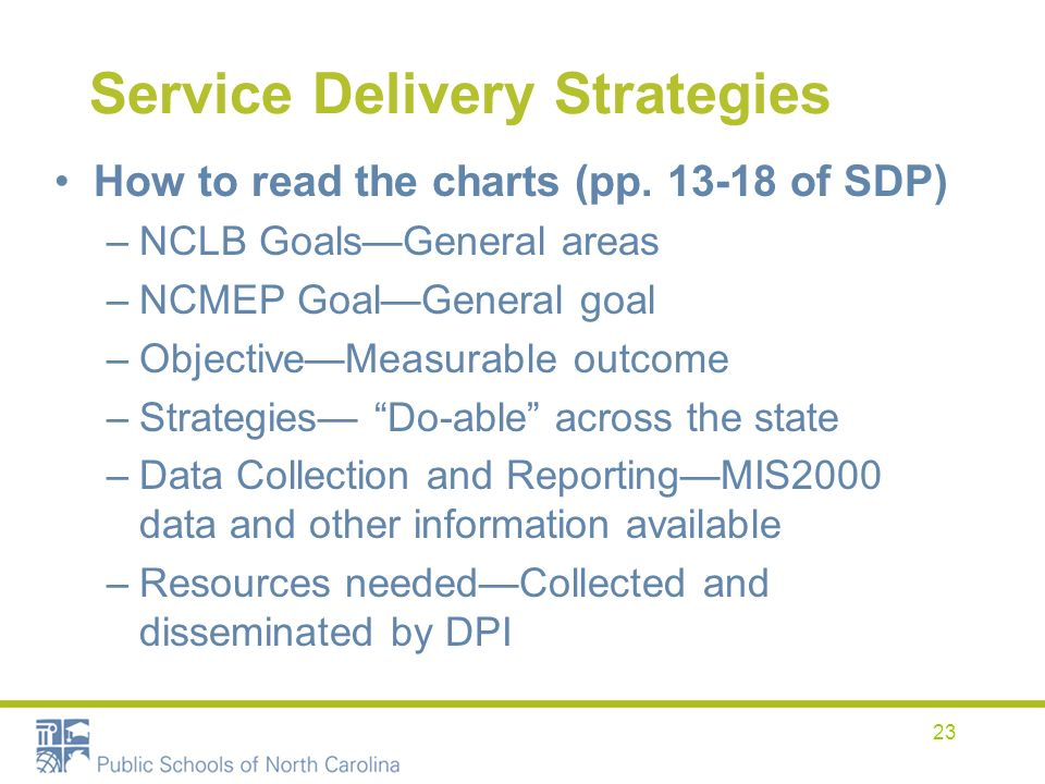 23 Service Delivery Strategies How to read the charts (pp. 13-18 of SDP) –NCLB GoalsGeneral areas –NCMEP GoalGeneral goal –ObjectiveMeasurable outcome