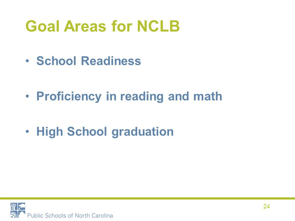 24 Goal Areas for NCLB School Readiness Proficiency in reading and math High School graduation