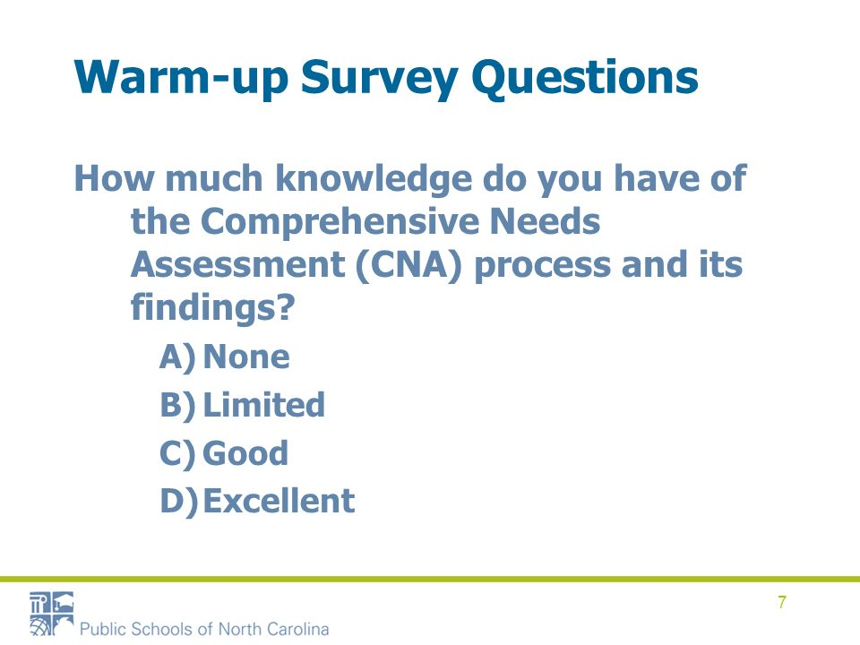 7 Warm-up Survey Questions How much knowledge do you have of the Comprehensive Needs Assessment (CNA) process and its findings? A)None B)Limited C)Goo