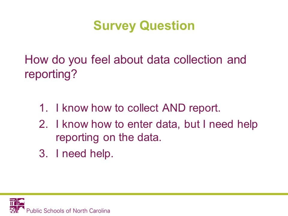 Survey Question How do you feel about data collection and reporting.