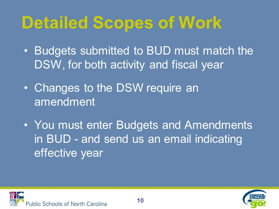 Detailed Scopes of Work Budgets submitted to BUD must match the DSW, for both activity and fiscal year Changes to the DSW require an amendment You must enter Budgets and Amendments in BUD - and send us an email indicating effective year 10