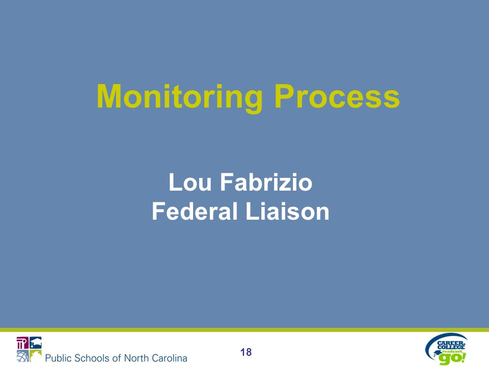 Monitoring Process Lou Fabrizio Federal Liaison 18