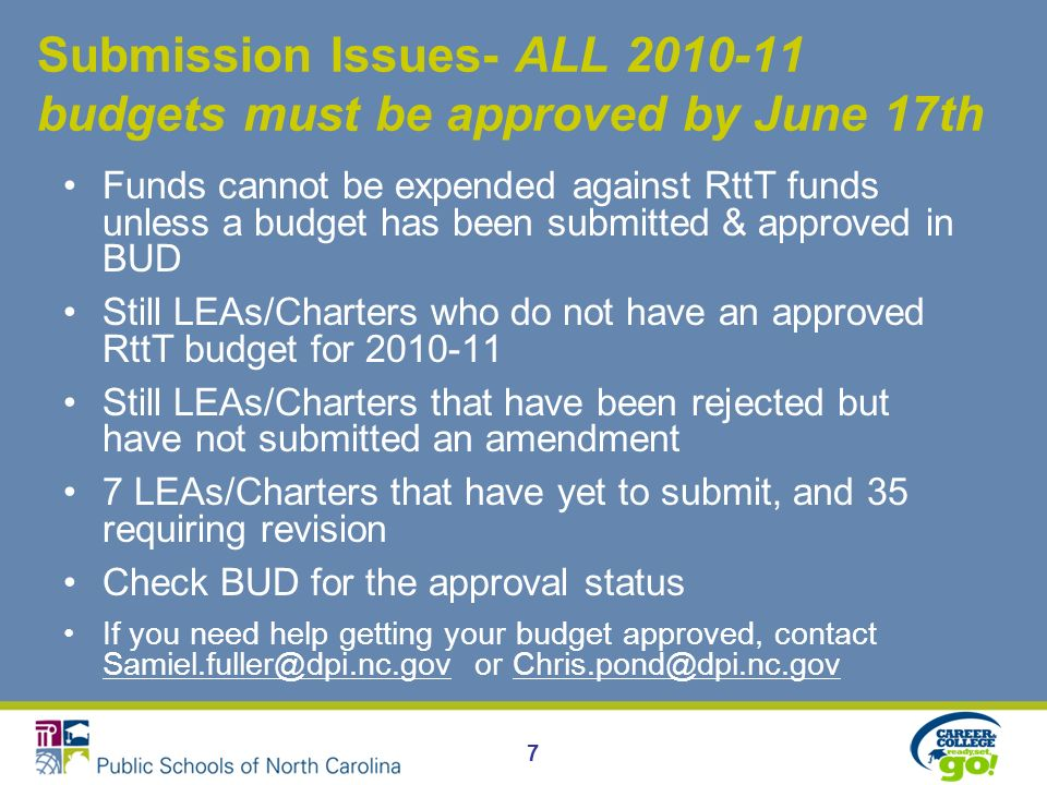 Submission Issues- ALL 2010-11 budgets must be approved by June 17th Funds cannot be expended against RttT funds unless a budget has been submitted & approved in BUD Still LEAs/Charters who do not have an approved RttT budget for 2010-11 Still LEAs/Charters that have been rejected but have not submitted an amendment 7 LEAs/Charters that have yet to submit, and 35 requiring revision Check BUD for the approval status If you need help getting your budget approved, contact Samiel.fuller@dpi.nc.gov or Chris.pond@dpi.nc.gov Samiel.fuller@dpi.nc.govChris.pond@dpi.nc.gov 7