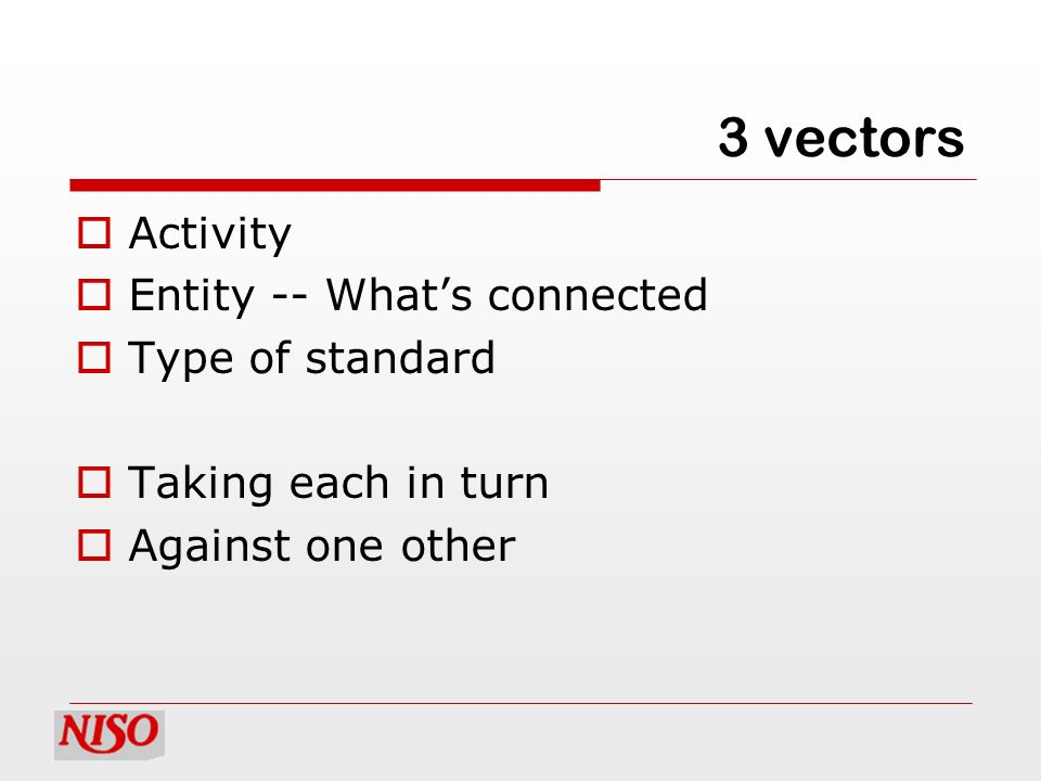 3 vectors Activity Entity -- Whats connected Type of standard Taking each in turn Against one other