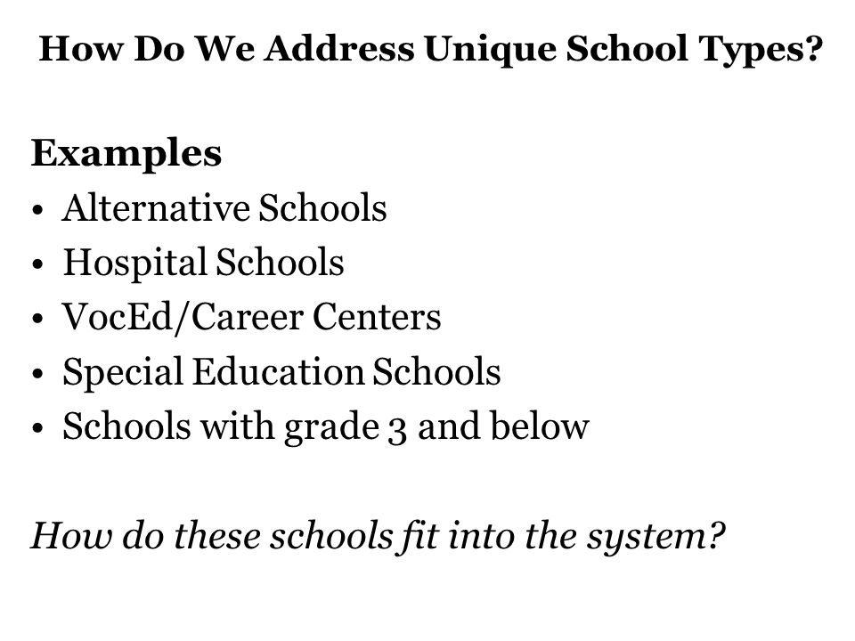 How Do We Address Unique School Types.