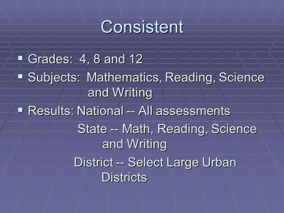 Consistent Grades: 4, 8 and 12 Grades: 4, 8 and 12 Subjects: Mathematics, Reading, Science and Writing Subjects: Mathematics, Reading, Science and Writing Results: National -- All assessments Results: National -- All assessments State -- Math, Reading, Science and Writing State -- Math, Reading, Science and Writing District -- Select Large Urban Districts