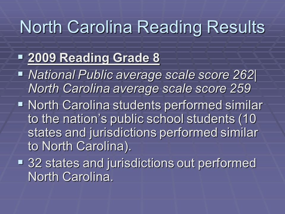 North Carolina Reading Results 2009 Reading Grade 8 2009 Reading Grade 8 National Public average scale score 262| North Carolina average scale score 259 National Public average scale score 262| North Carolina average scale score 259 North Carolina students performed similar to the nations public school students (10 states and jurisdictions performed similar to North Carolina).
