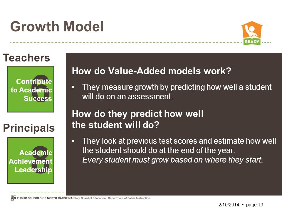 Growth Model Teachers Principals 6 Contribute to Academic Success Academic Achievement Leadership 8 How do Value-Added models work? They measure growt
