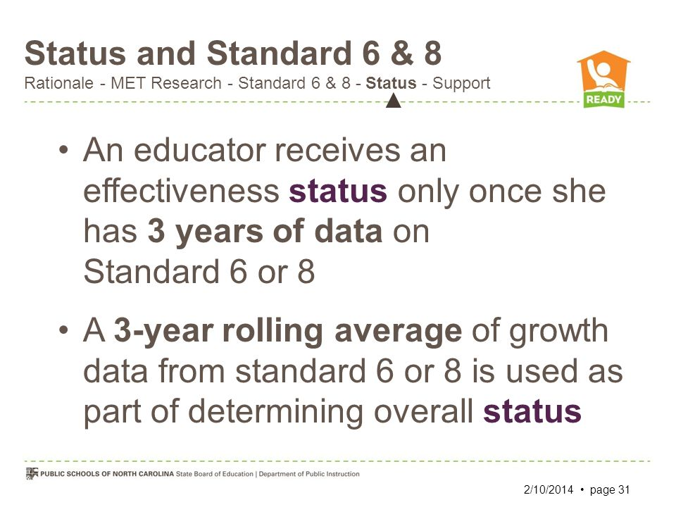 Status and Standard 6 & 8 Rationale - MET Research - Standard 6 & 8 - Status - Support An educator receives an effectiveness status only once she has