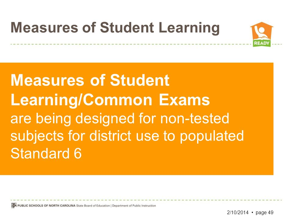 Measures of Student Learning Measures of Student Learning/Common Exams are being designed for non-tested subjects for district use to populated Standa