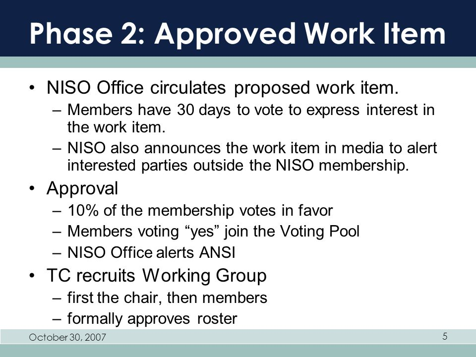 October 30, 2007 5 Phase 2: Approved Work Item NISO Office circulates proposed work item.