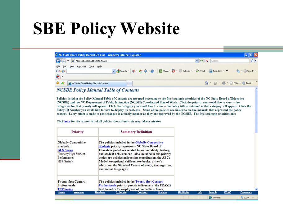 SBE Policy Website