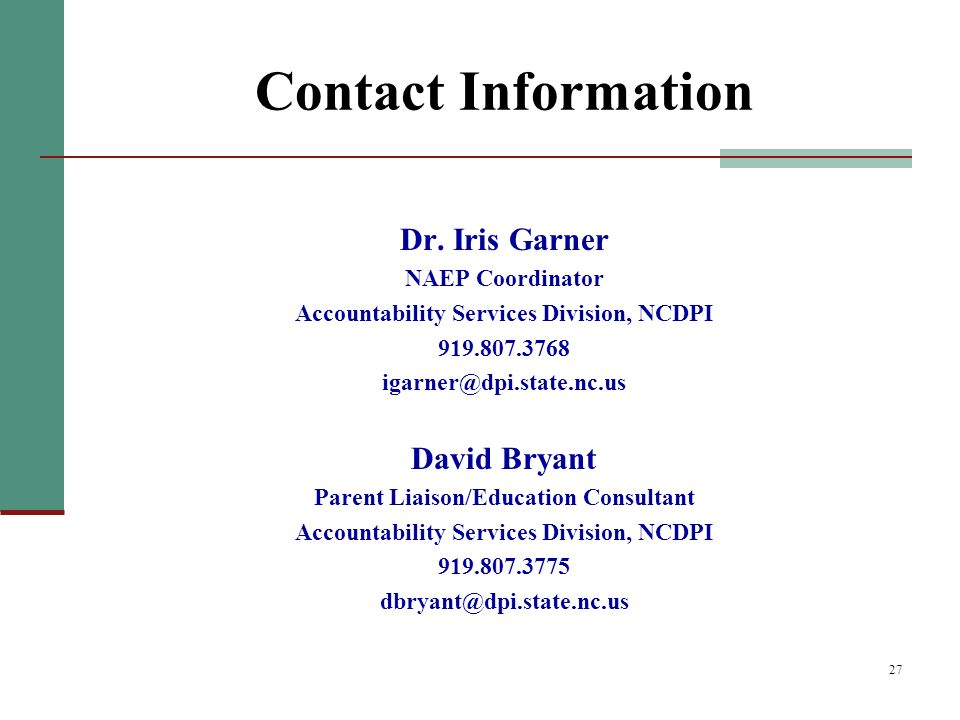 27 Contact Information Dr.