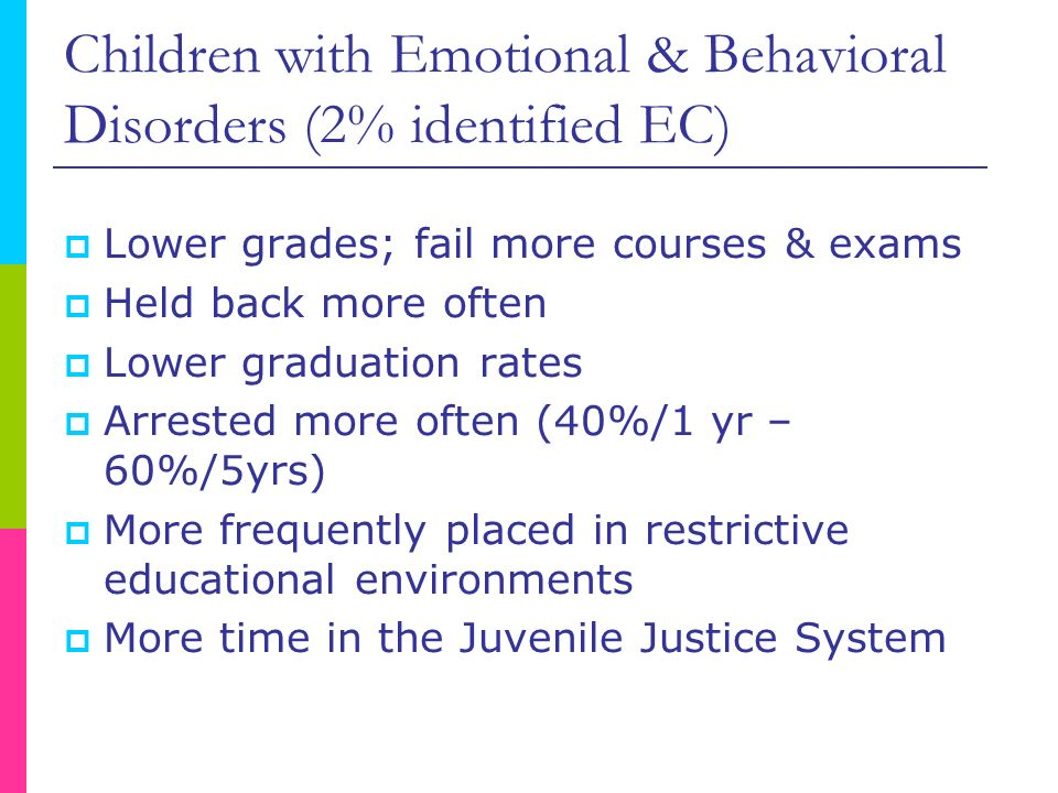 Children with Emotional & Behavioral Disorders (2% identified EC) Lower grades; fail more courses & exams Held back more often Lower graduation rates