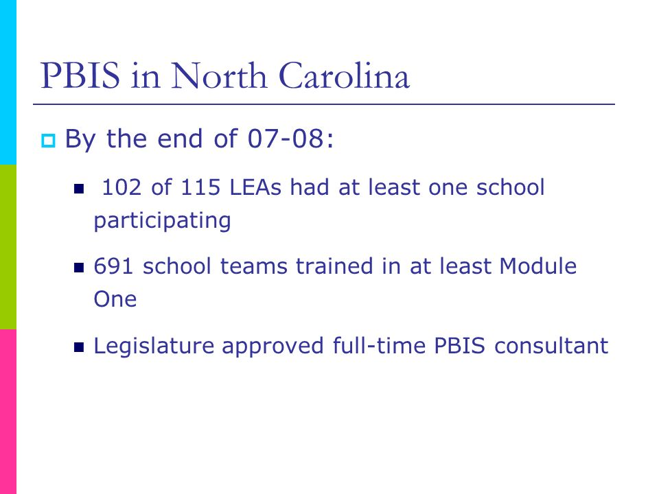 PBIS in North Carolina By the end of 07-08: 102 of 115 LEAs had at least one school participating 691 school teams trained in at least Module One Legi