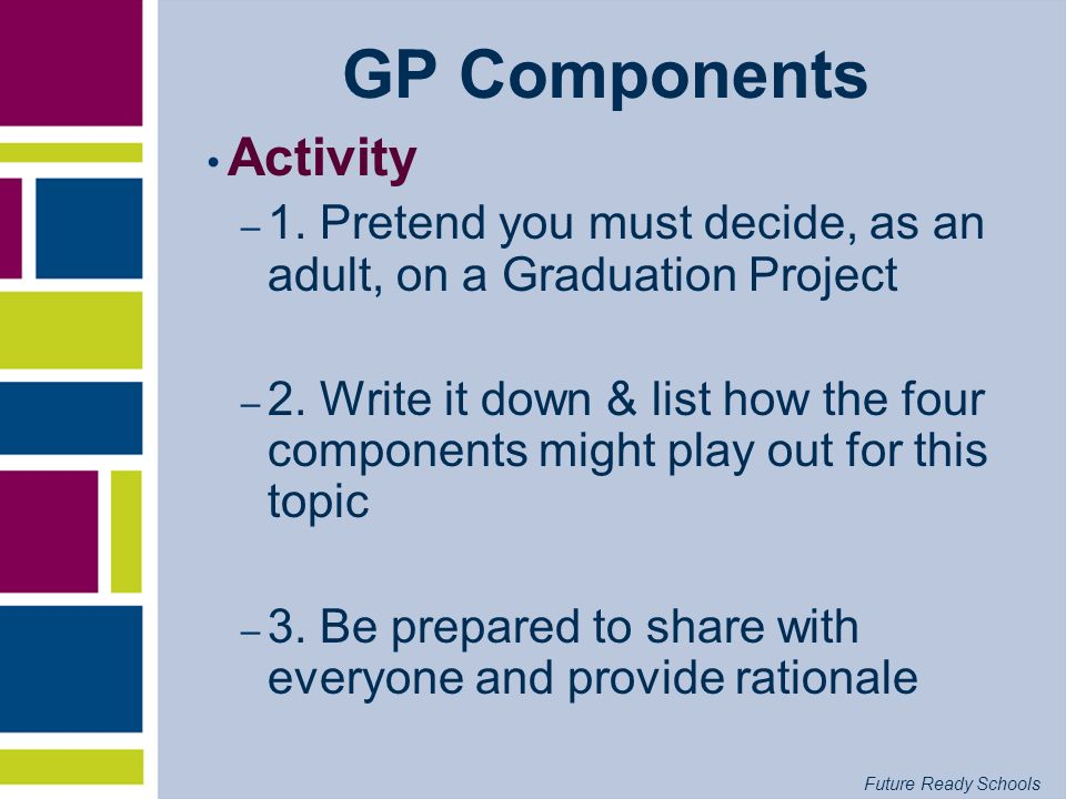 Future Ready Schools GP Components Activity – 1. Pretend you must decide, as an adult, on a Graduation Project – 2. Write it down & list how the four