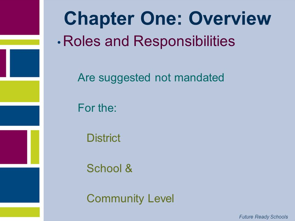 Future Ready Schools Chapter One: Overview Roles and Responsibilities Are suggested not mandated For the: District School & Community Level