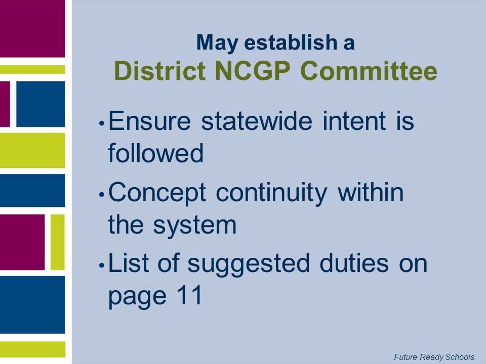 Future Ready Schools May establish a District NCGP Committee Ensure statewide intent is followed Concept continuity within the system List of suggeste