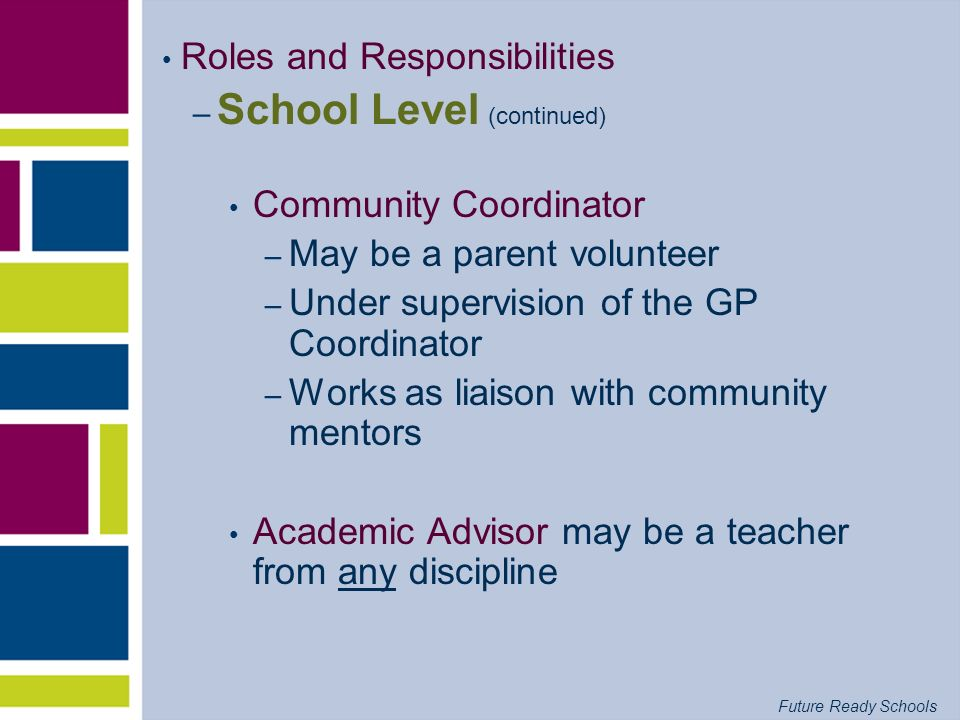 Future Ready Schools Roles and Responsibilities – School Level (continued) Community Coordinator – May be a parent volunteer – Under supervision of th