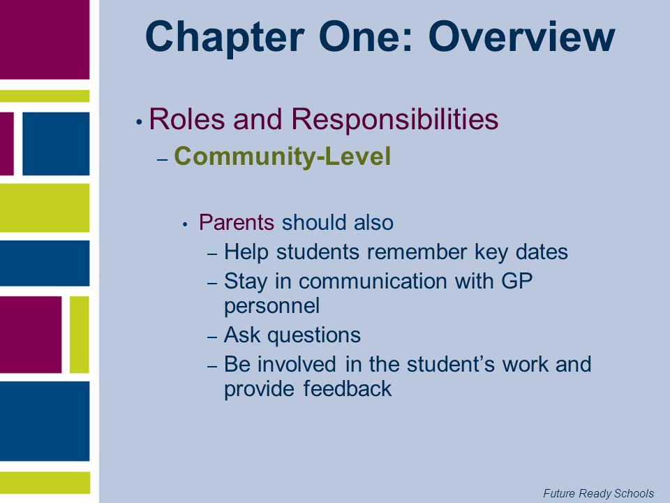 Future Ready Schools Chapter One: Overview Roles and Responsibilities – Community-Level Parents should also – Help students remember key dates – Stay