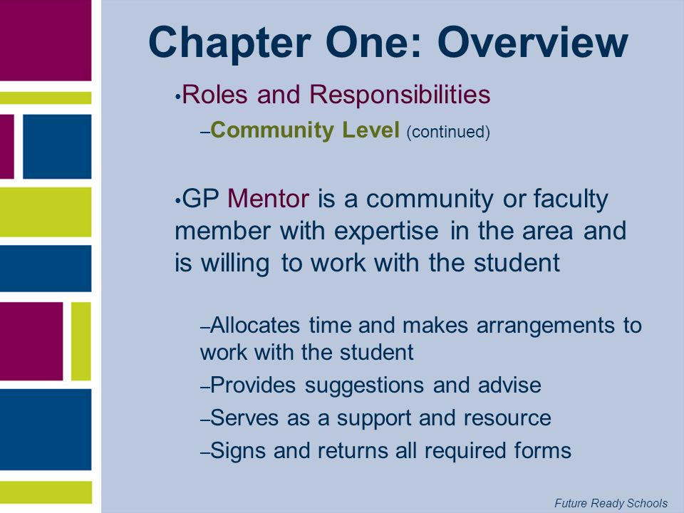 Future Ready Schools Chapter One: Overview Roles and Responsibilities – Community Level (continued) GP Mentor is a community or faculty member with ex