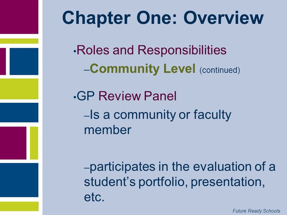 Future Ready Schools Chapter One: Overview Roles and Responsibilities – Community Level (continued) GP Review Panel – Is a community or faculty member