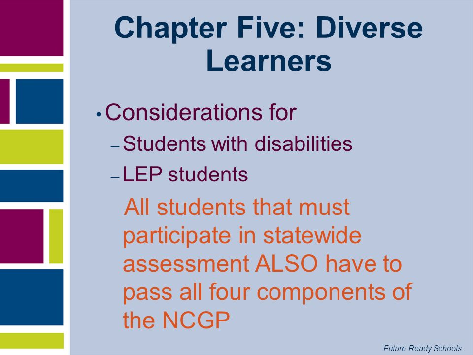 Future Ready Schools Chapter Five: Diverse Learners Considerations for – Students with disabilities – LEP students All students that must participate