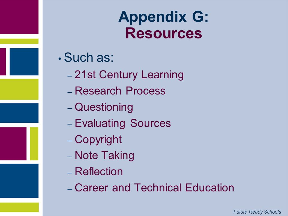 Future Ready Schools Appendix G: Resources Such as: – 21st Century Learning – Research Process – Questioning – Evaluating Sources – Copyright – Note T