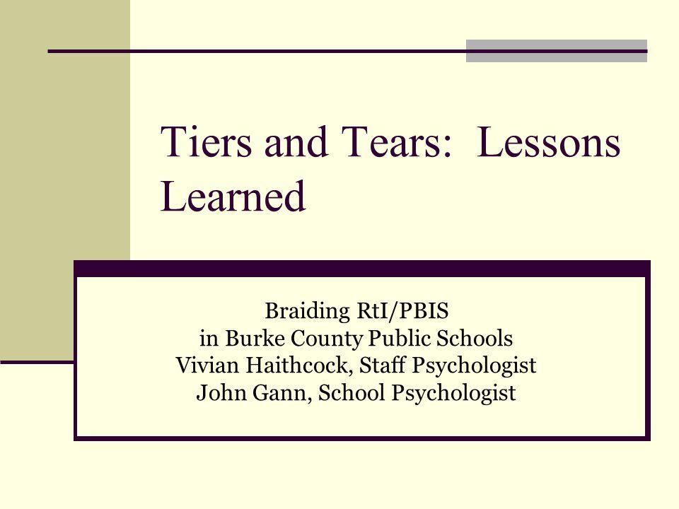 Tiers and Tears: Lessons Learned Braiding RtI/PBIS in Burke County Public Schools Vivian Haithcock, Staff Psychologist John Gann, School Psychologist