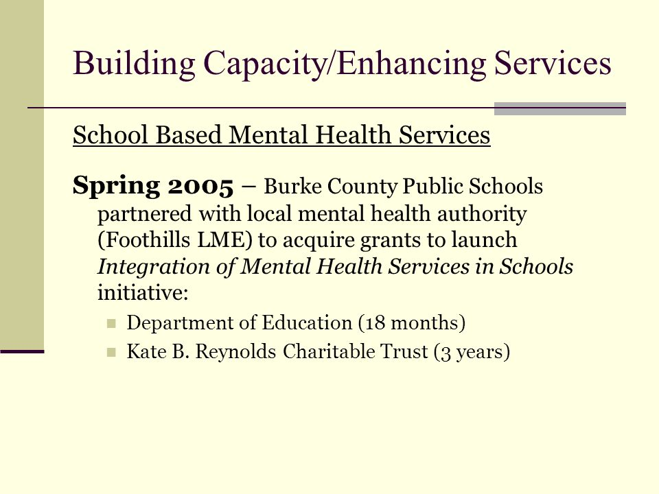 Building Capacity/Enhancing Services School Based Mental Health Services Spring 2005 – Burke County Public Schools partnered with local mental health