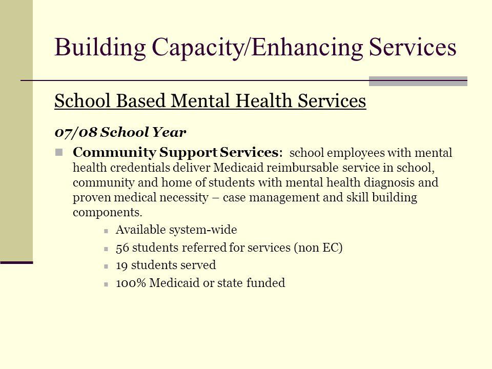 Building Capacity/Enhancing Services School Based Mental Health Services 07/08 School Year Community Support Services: school employees with mental he