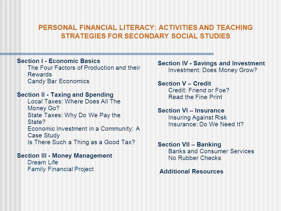 Our Resources… Personal Financial Literacy Documents Elementary Middle Secondary Supplemental Secondary Resource Document