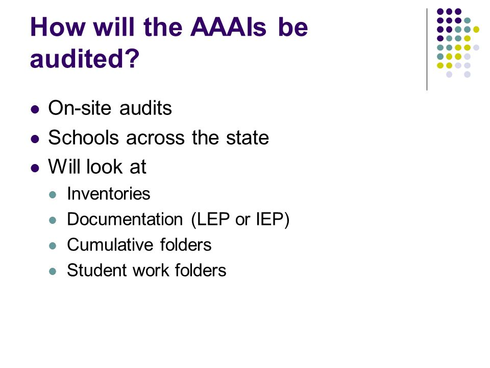 How will the AAAIs be audited? On-site audits Schools across the state Will look at Inventories Documentation (LEP or IEP) Cumulative folders Student