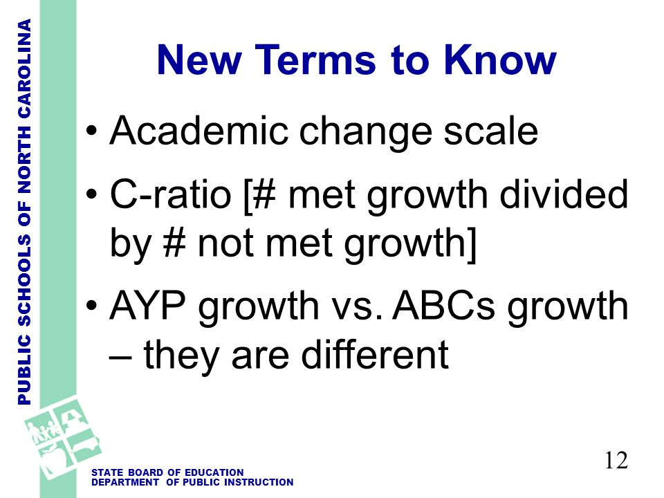 PUBLIC SCHOOLS OF NORTH CAROLINA STATE BOARD OF EDUCATION DEPARTMENT OF PUBLIC INSTRUCTION 12 New Terms to Know Academic change scale C-ratio [# met growth divided by # not met growth] AYP growth vs.