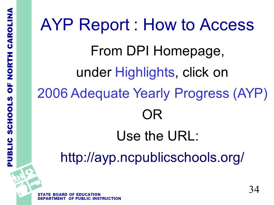 PUBLIC SCHOOLS OF NORTH CAROLINA STATE BOARD OF EDUCATION DEPARTMENT OF PUBLIC INSTRUCTION 34 From DPI Homepage, under Highlights, click on 2006 Adequate Yearly Progress (AYP) OR Use the URL: http://ayp.ncpublicschools.org/ AYP Report : How to Access