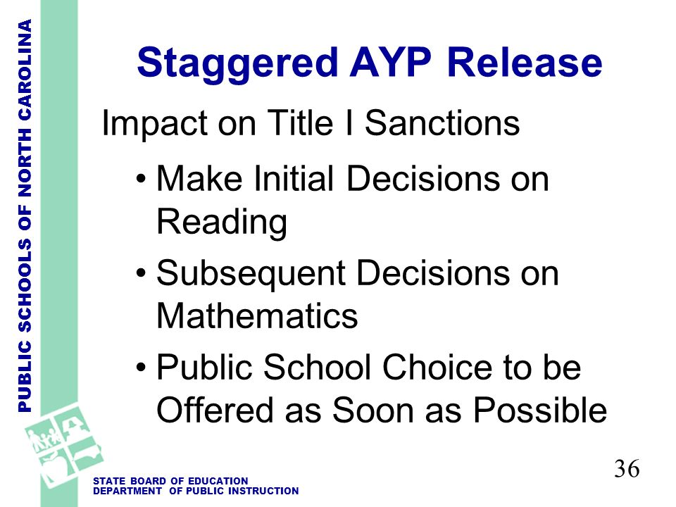 PUBLIC SCHOOLS OF NORTH CAROLINA STATE BOARD OF EDUCATION DEPARTMENT OF PUBLIC INSTRUCTION 36 Staggered AYP Release Impact on Title I Sanctions Make Initial Decisions on Reading Subsequent Decisions on Mathematics Public School Choice to be Offered as Soon as Possible