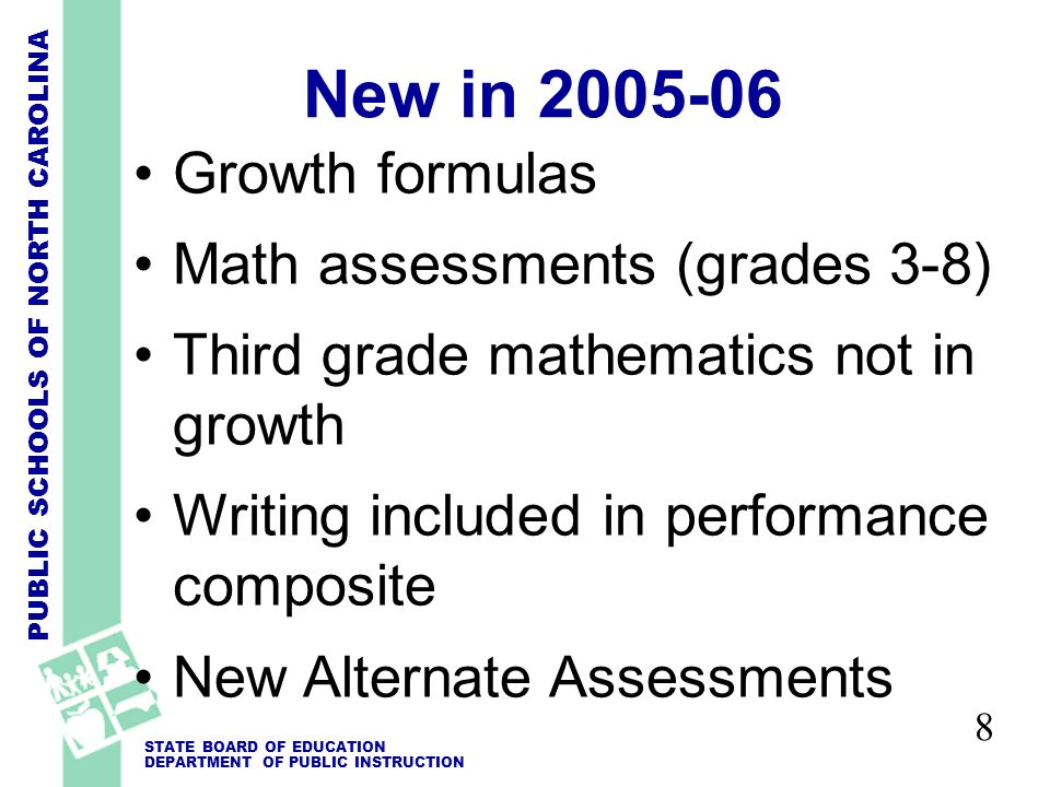 PUBLIC SCHOOLS OF NORTH CAROLINA STATE BOARD OF EDUCATION DEPARTMENT OF PUBLIC INSTRUCTION 8 New in 2005-06 Growth formulas Math assessments (grades 3-8) Third grade mathematics not in growth Writing included in performance composite New Alternate Assessments