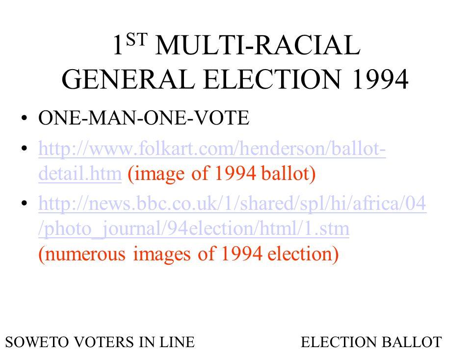 1 ST MULTI-RACIAL GENERAL ELECTION 1994 ONE-MAN-ONE-VOTE http://www.folkart.com/henderson/ballot- detail.htm (image of 1994 ballot)http://www.folkart.