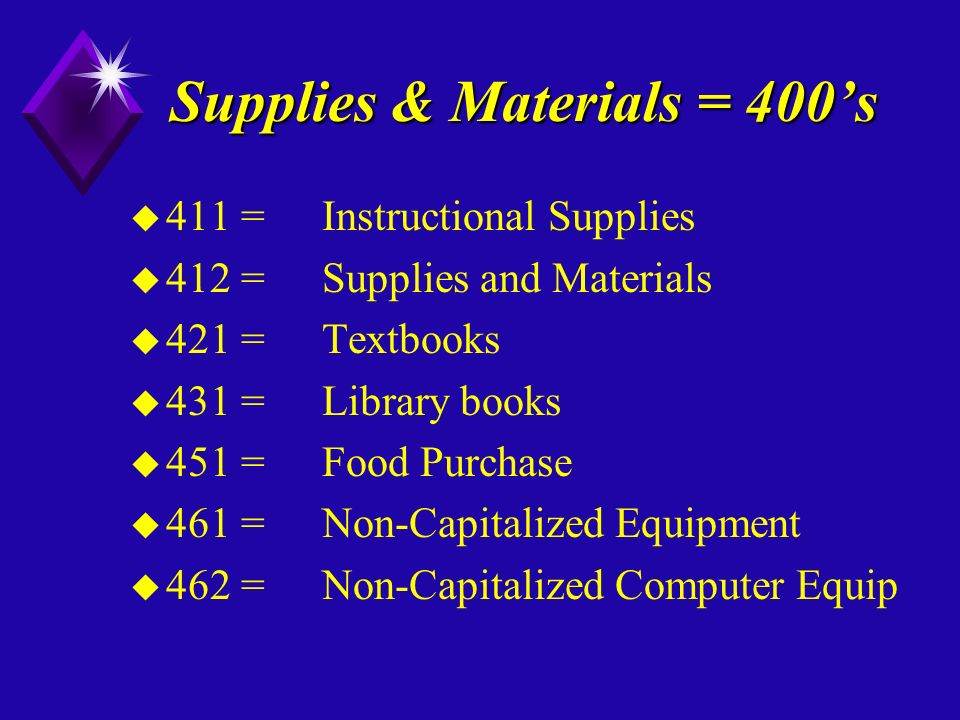 Supplies & Materials = 400s u 411 = Instructional Supplies u 412 =Supplies and Materials u 421 =Textbooks u 431 =Library books u 451 =Food Purchase u 461 = Non-Capitalized Equipment u 462 =Non-Capitalized Computer Equip