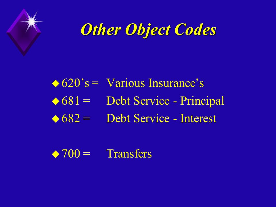 Other Object Codes u 620s =Various Insurances u 681 = Debt Service - Principal u 682 = Debt Service - Interest u 700 =Transfers
