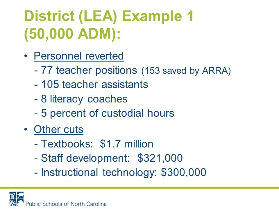 District (LEA) Example 1 (50,000 ADM): Personnel reverted - 77 teacher positions (153 saved by ARRA) - 105 teacher assistants - 8 literacy coaches - 5