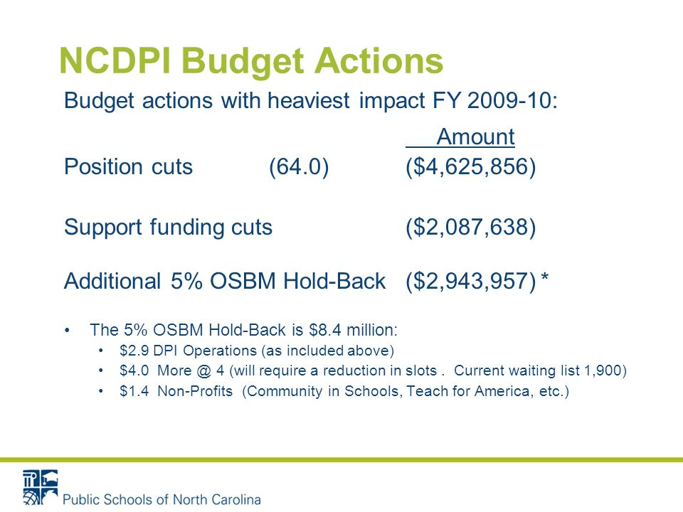 NCDPI Budget Actions Budget actions with heaviest impact FY 2009-10: Amount Position cuts(64.0)($4,625,856) Support funding cuts($2,087,638) Additional 5% OSBM Hold-Back($2,943,957) * The 5% OSBM Hold-Back is $8.4 million: $2.9 DPI Operations (as included above) $4.0 More @ 4 (will require a reduction in slots.